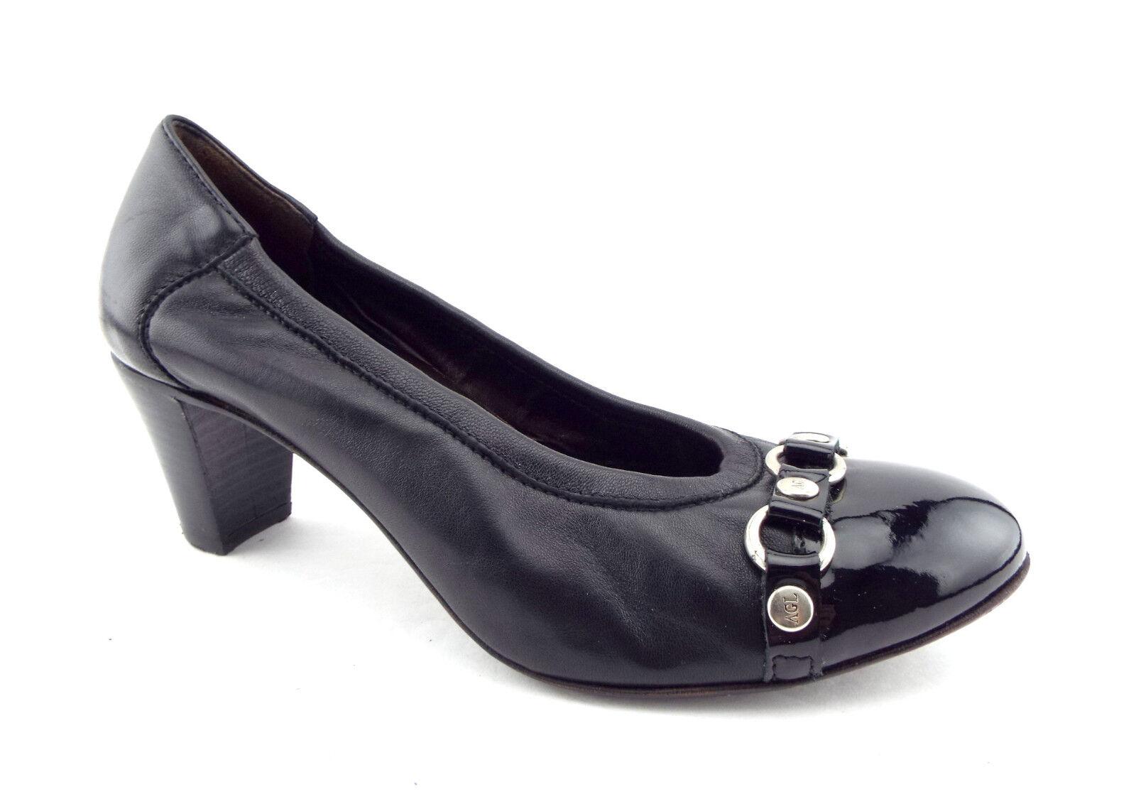 AGL ATTILIO GIUSTI LEOMBRUNI Size 7 Black Cap Toe Pumps Pumps Toe Heels Shoes 37 67c8e3