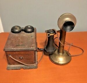 Antique-1913-Western-Electric-Model-323-Brass-Candlestick-Telephone-amp-Ringer-Box