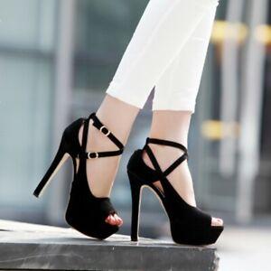 Women-039-s-Platform-Peep-Toe-Stilettos-Sandals-14cm-High-Heels-Ankle-Strap-Shoes
