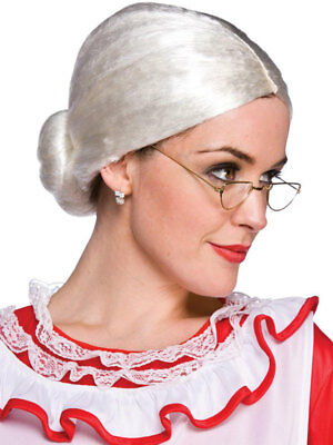 Old Lady Woman Bun Santa Mrs Claus Fancy Dress Granny White Wig Xmas Christmas