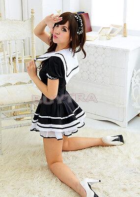Fashion Japanese Japan School Girl Sailor Uniform Dress Maid Cosplay Costume
