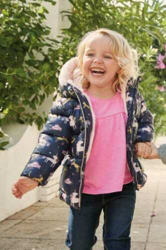 NEXT Girls Unicorn Jacket Navy Print Padded Coat With Hood 12-18-24 Months BNWT