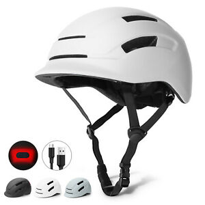 Glaf Ultralight Adult Bike Safety Helmet Cycling Bicycle USB Tail Light White