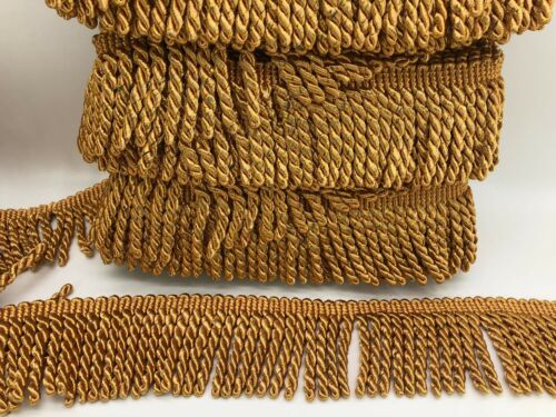 8cm wide deep gold bullion fringe 12metre pack