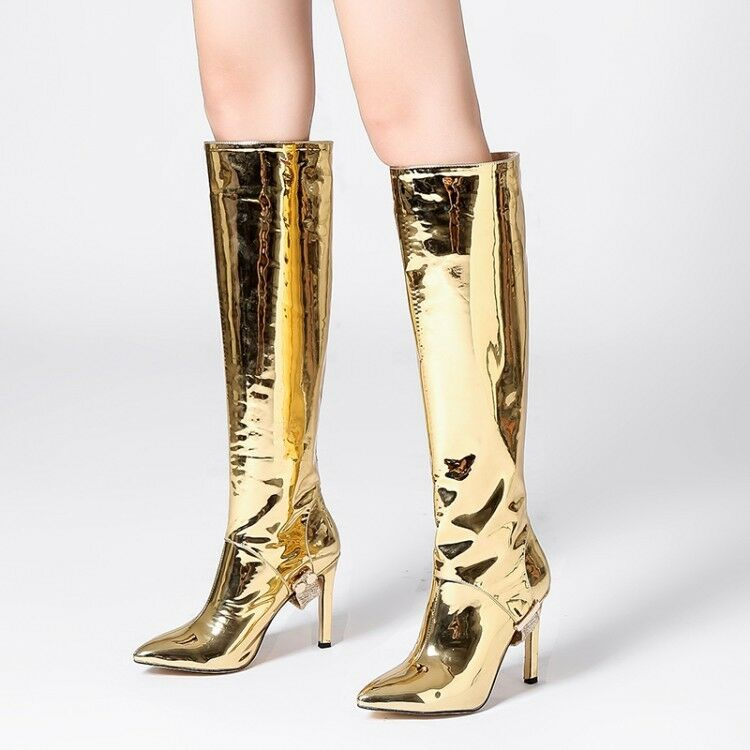 Mujeres Brillante Puntera Puntiaguda Strench Muslo botas Stiletto Tacón alto encima de la rodilla Bota