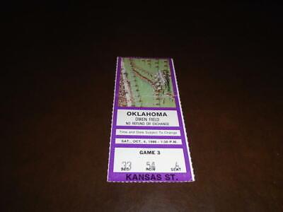 1986 KANSAS STATE AT OKLAHOMA COLLEGE FOOTBALL TICKET STUB ...