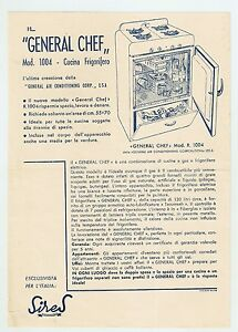 """Advertising """"GENERAL CHEF"""" Mod. 1004 Cucina Frigorifero - Volantino Anni 50 - Italia - Advertising """"GENERAL CHEF"""" Mod. 1004 Cucina Frigorifero - Volantino Anni 50 - Italia"""