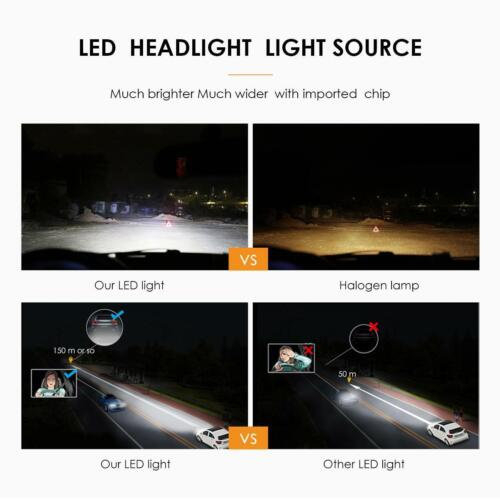 9005 HB3 LED Headlight Bulb High Beam Super Bright 6000K 300000LM 2000W Pair