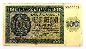 Spain- Guerra Civil. Billete. 100 Pesetas 1936. Burgos. Casi MBC+/VF+