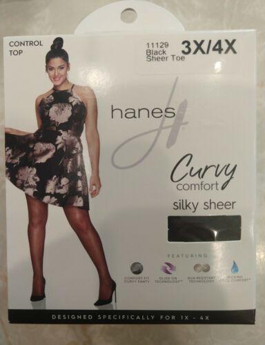 Hanes Curvy Comfort Black Silky Sheer Control Top 3X//4X Pantyhose New in Box