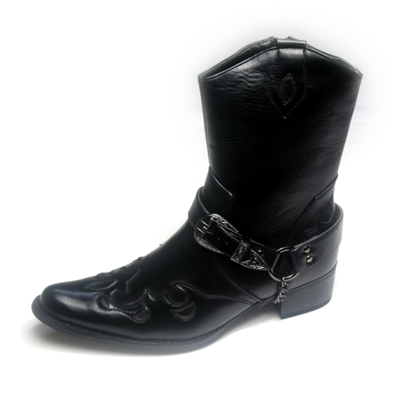 Mens Gents Full Zip Western Cowboy Ankle Boots Colour Black Size 9