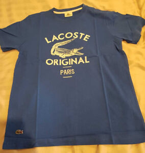 Lacoste-Original-Paris-Print-T-Shirt-Blue-Small-Medium-Large-S-M-L-XL