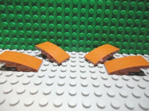 Lego 4 Dark Orange 4x2 Curved Smooth Slopes brick block NEW