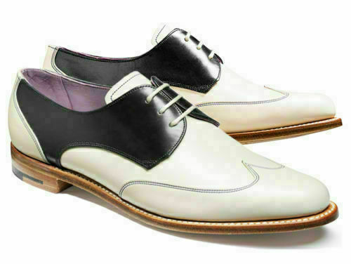 Mens Handmade shoes White & Black Wingtip Two Tone Formal Dress Wear Casual Boot