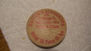 Details About Vintage Advertising Wooden Nickel Ravidas Superette 155 Exchange St Red