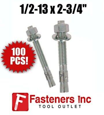 Concrete Wedge Anchors Zinc Alloy 1//2-13 X 3-3//4 Qty 25