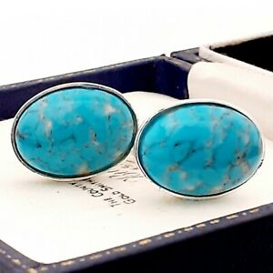 Vintage-1950s-Turquoise-Blue-Marble-Peking-Glass-Oval-Silver-Plated-Cufflinks