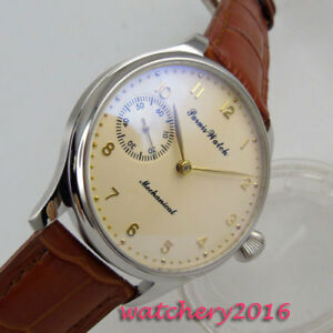 44mm-PARNIS-Beige-dial-17-jewels-6497-Handaufzug-Mechanisch-Uhr-men-039-s-Wristwatch