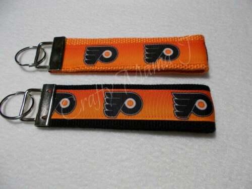 Details about  /NHL Philadelphia Flyers Print Ribbon on Strong Webbing Key Fob KeyChain Wristlet