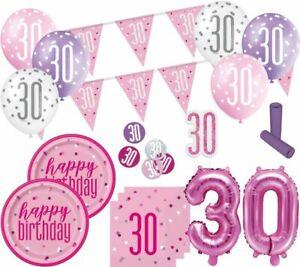 XL-36-Teile-30-Geburtstag-Pink-Dots-Party-Deko-Set-fuer-8-Personen