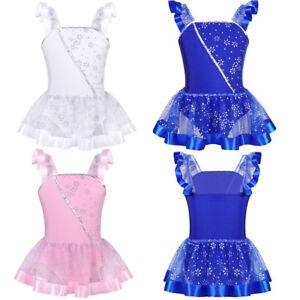 Image is loading Kid-Girls-Gymnastics-Leotard-Ballet-Dress-Shiny-Sequins- 2954862e8686