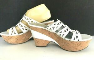 GUESS-Cork-Wedge-Sandals-Womens-SZ-8-5-8-1-2-WHITE-Platform-4-034-Heel-SHOES-Clog