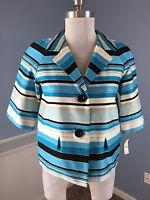 $169 Talbots Aqua Blue Black White Stripe Blazer Jacket Career Cocktail S 4