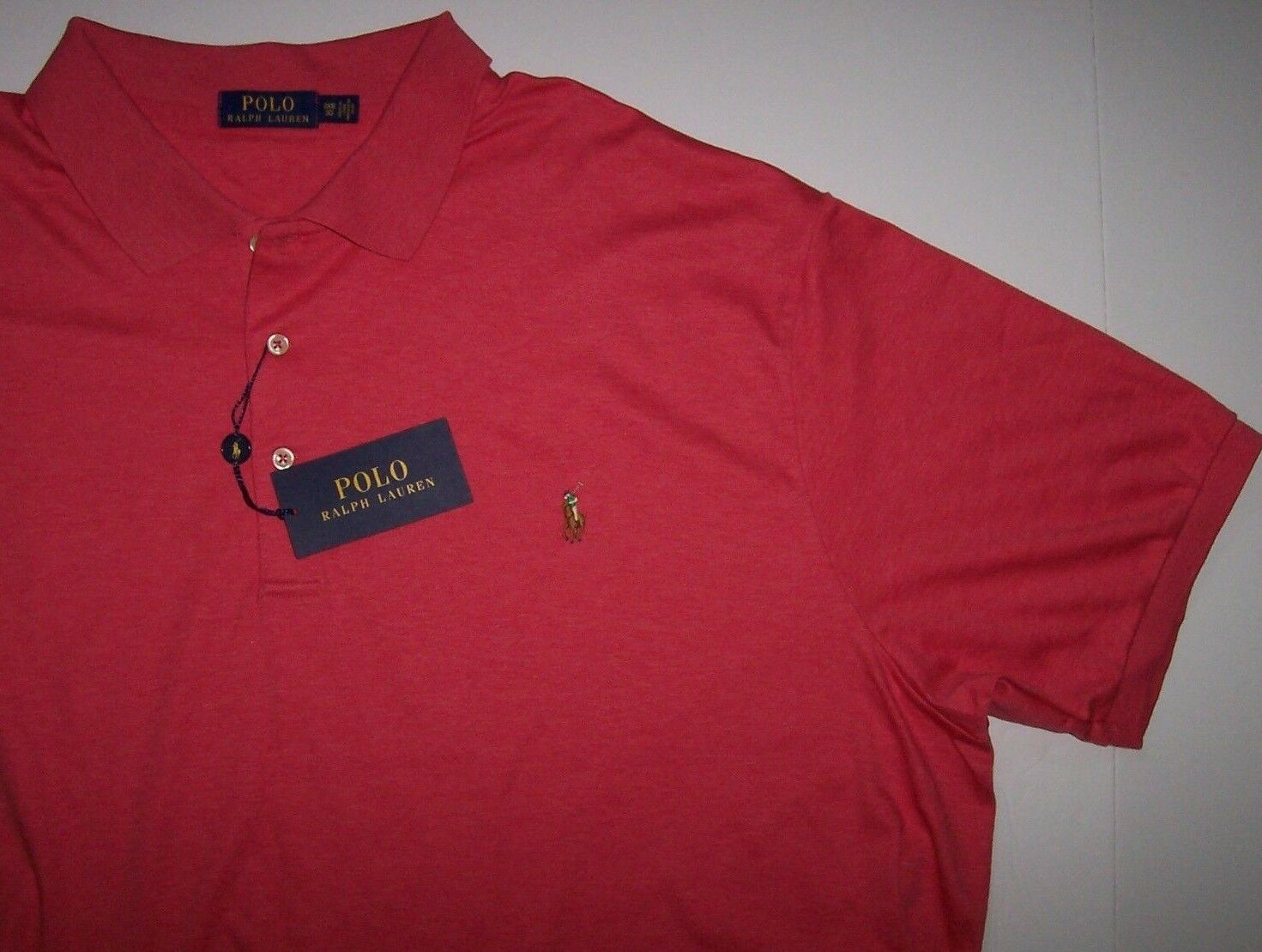 NWT Polo Ralph Lauren SMOOTH Cotton orange Pink Heather Shirt 3XB Big PONY Logo