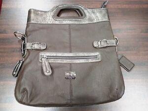 Nice-Women-039-s-Large-Tote-Bag-Purse-Handbag-Brown-amp-Gray-Similar-To-Coach