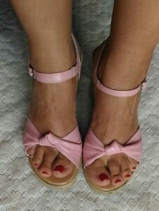 Sandali-rosa-similpelle-fibbia-37-usate-tacco-alto-10cm-similsughero-zeppa