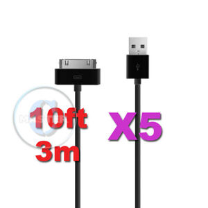 5X-10ft-3m-LONG-XL-CHARGE-SYNC-USB-DATA-CABLE-for-APPLE-4S-4-iPOD-iPAD-2-3-BLACK