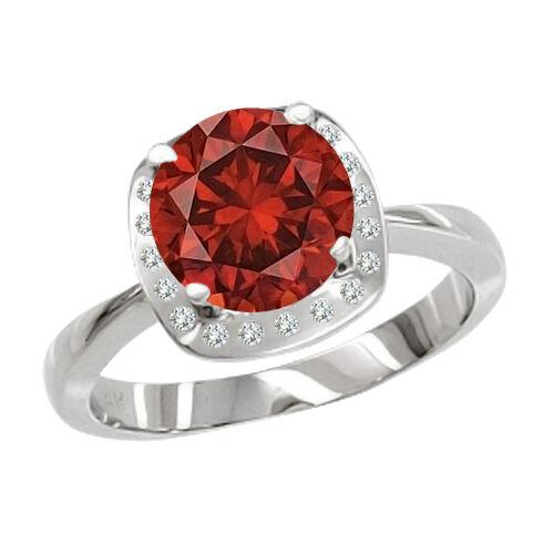 0.65 Carat Red GH SI2 Round Diamond Solitaire  Ring 14K WG Valentineday Spl.Sale