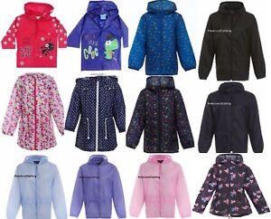 Girls-Boys-Raincoat-Kids-Printed-Rain-Hooded-Mac-Showerproof-Kagoul-Kag-Coat
