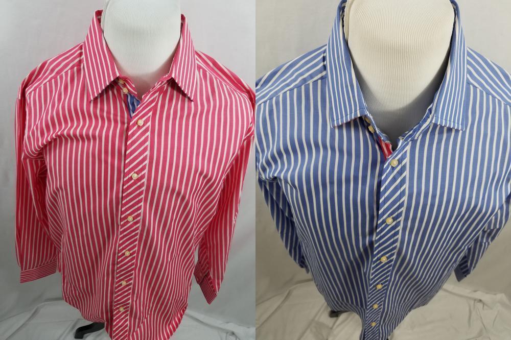 NWT Lot of 2 Robert Graham Mens XL Pink bluee Striped White Button Up Dress Shirt