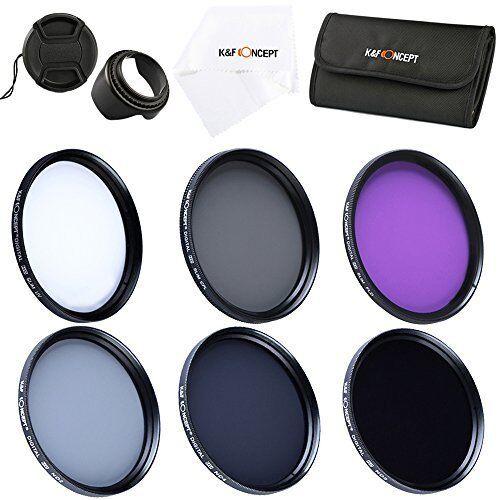 K&F 58 mm UV circulaire polarisant FLD densité neutre 2 4 8 Lens Filtre Kit Étui + Capuche + bouchon pour Canon Nikon