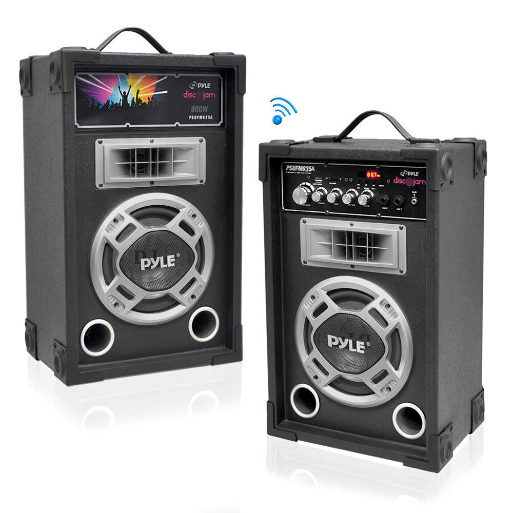 New Pyle PSUFM837BT Pair of 800W 8  Blautooth Speakers USB AUX FM Flashing Light