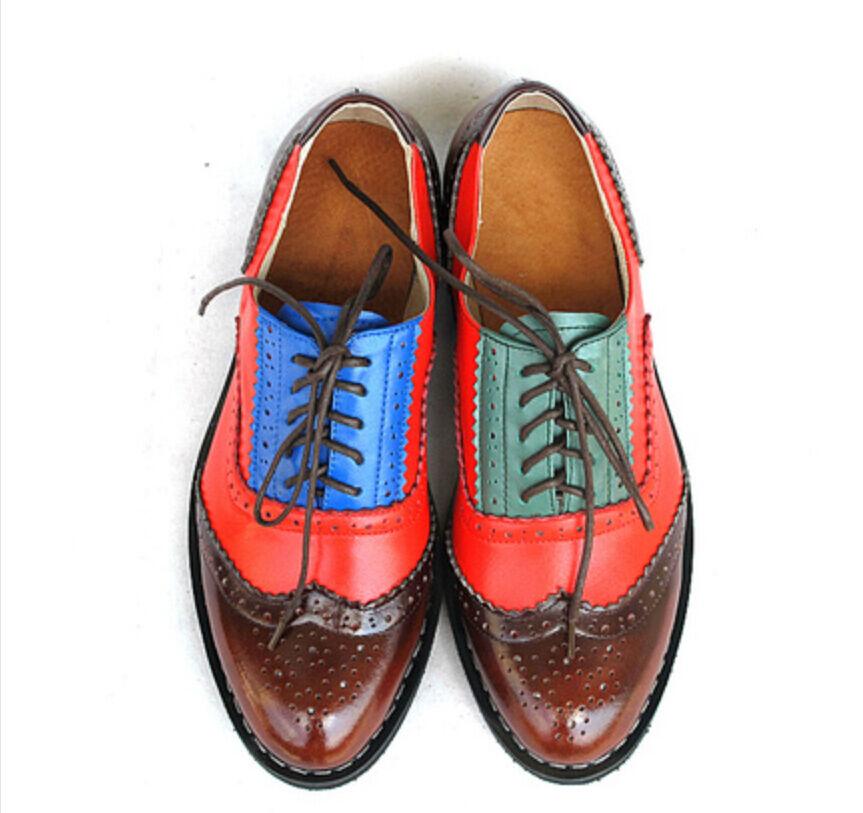 21 Colors Vestido Formal de cuero para mujer Colors costura costura costura Oxfords Wing Tip Zapatos Talla  todos los bienes son especiales