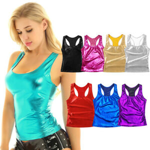 New Stretchy Neon Cropped Vest Tank Top Girls Strappy Cami Top