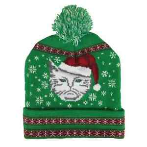 44dc432c1f6e56 Image is loading Mens-Green-Beanie-Meowy-Christmas-Holiday-Stocking-Cap-