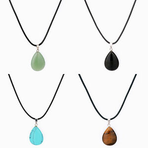 Natural-Stone-Water-Drop-Charm-Women-Men-Leather-Choker-Jewelry-Pendant-Necklace