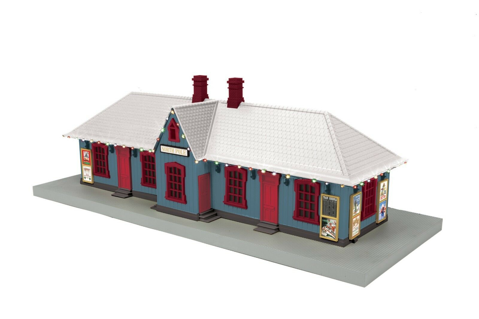 MTH 30-90587 NORTH POLE PASSENGER STATION WITH OPERATING CHRISTMAS LED LIGHTS