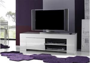 Base mobile porta tv moderno Eos 140 bianco lucidoo rovere sala ...