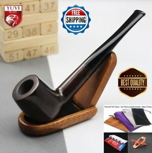 Ebony Wooden Smoking Pipe 9mm Handmade Bent Wood Tobacco Pipes Natural Filter