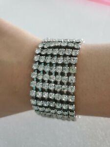 Rhinestone-Tennis-Bracelet-7-Rows-Silver-Tone-Women-039-s-Fashion-Jewelry