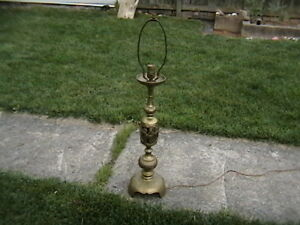 VINTAGE-BRASS-LOOKING-BRONZE-CONFUCIOUS-TABLE-LAMP-CHINESE-PIERCED-FLOWERS