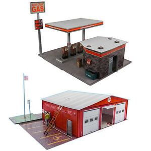 1-87-Train-HO-Scale-034-Gas-Station-amp-Fire-Department-034-Model-Building-Kit-Scenery