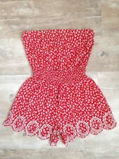 Auth Super Rare Missoni Red Strapless Jumpsuit/Romper with Embroidery Size IT 40