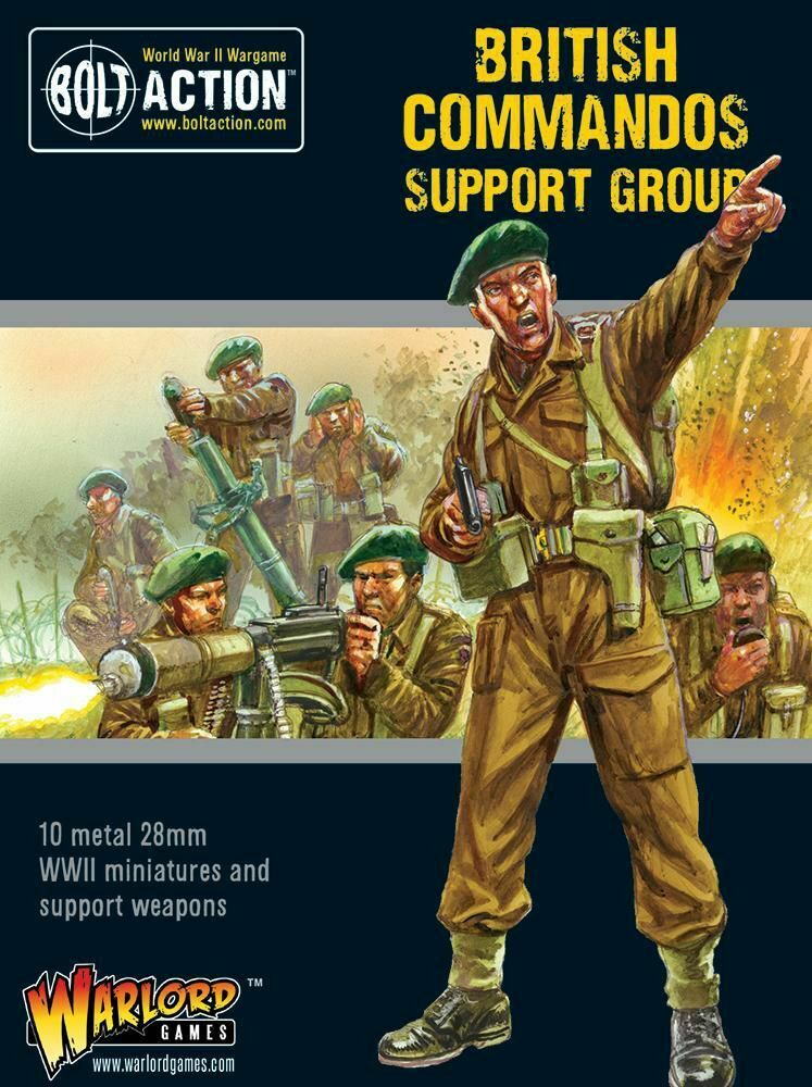 Warlord Games British Commandos Support Group 1 3 32in Bolt Action WW2 HQ Medic