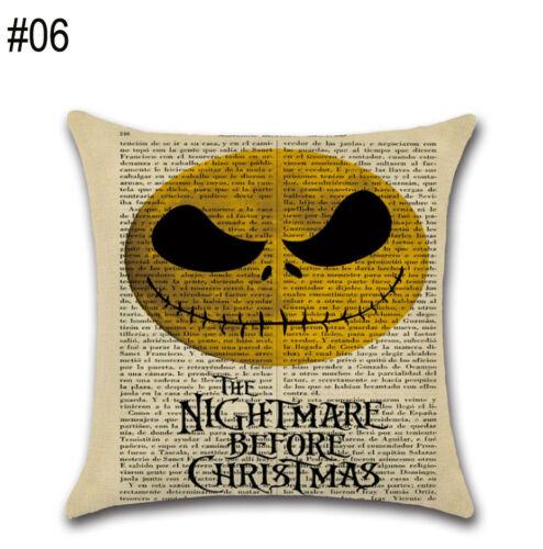 Halloween Cushion Cover Cotton Linen Pillow Case Nightmare Before Christmas
