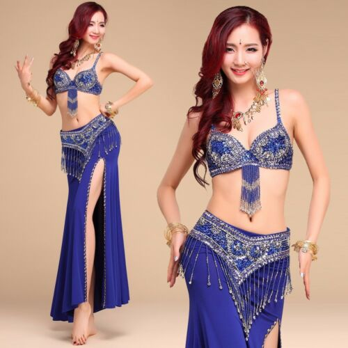 NEW Performance Belly Dance Costume Outfit Set Bra Top Belt Hip Scarf Bollywood